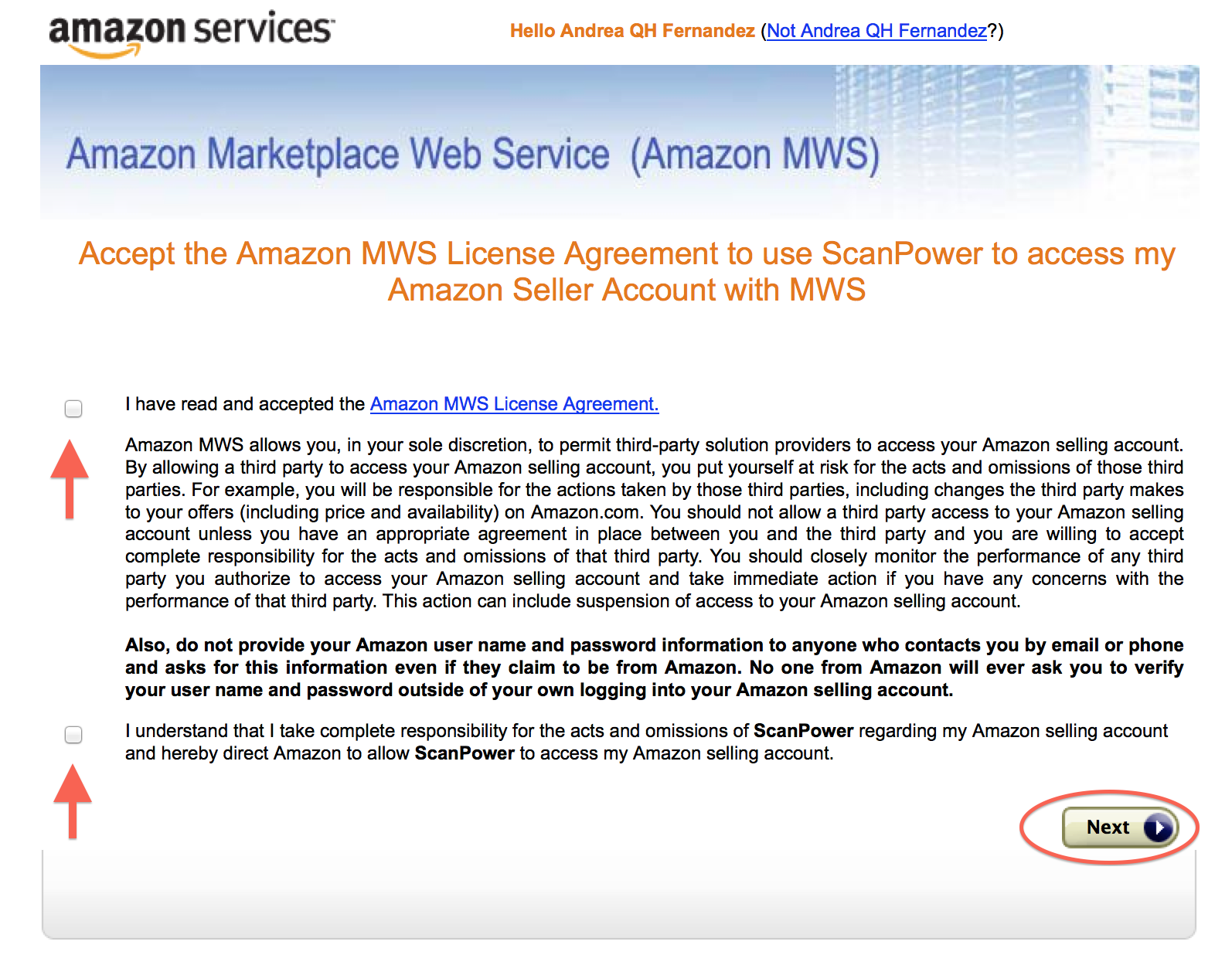 Next Proceed Through The Amazon Marketplace Web Service (MWS) Agreement  Page.