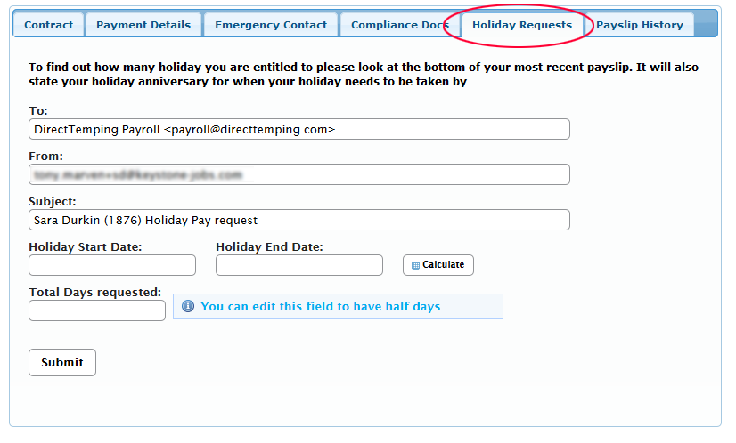 how do i request my holiday pay