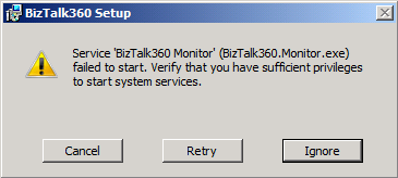 biztalk360 setup failed message