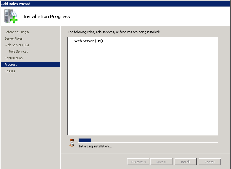 web server (iis) installation window