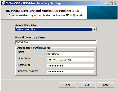 biztalk360 iis virtual directory settings