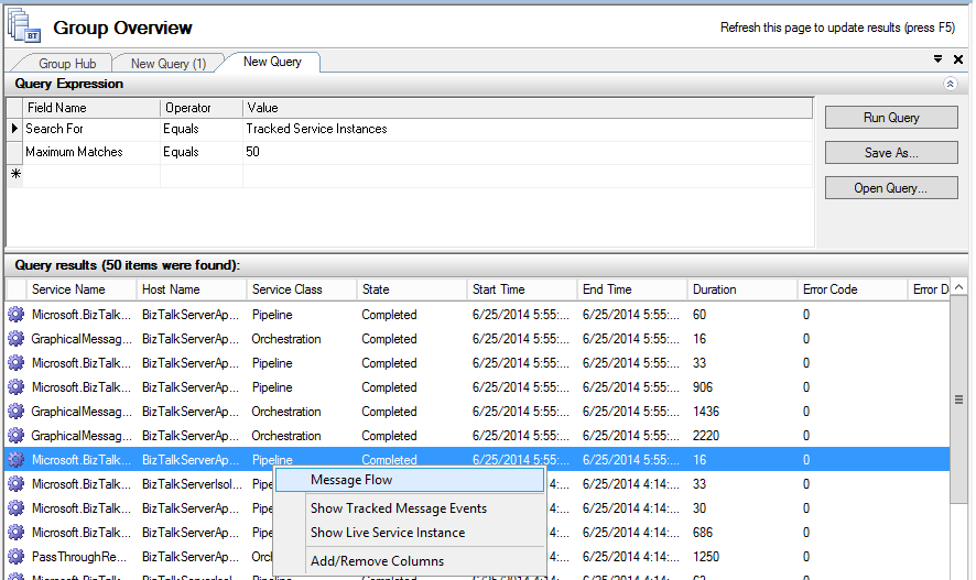 service instance message flow in biztalk administration console