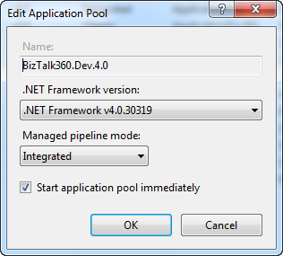 biztalk360 iis application pool