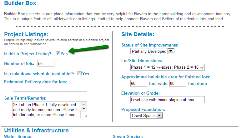 Identify your listing as a Project Listing