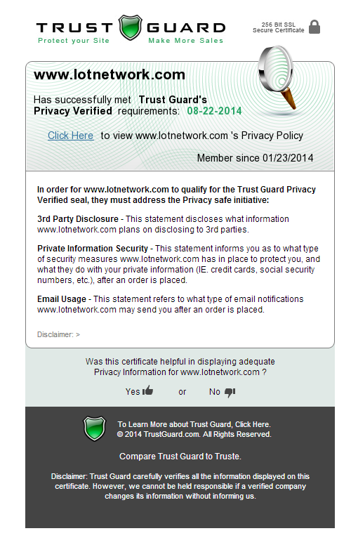 TrustGuard Privacy Verification Certificate on LotNetwork.com