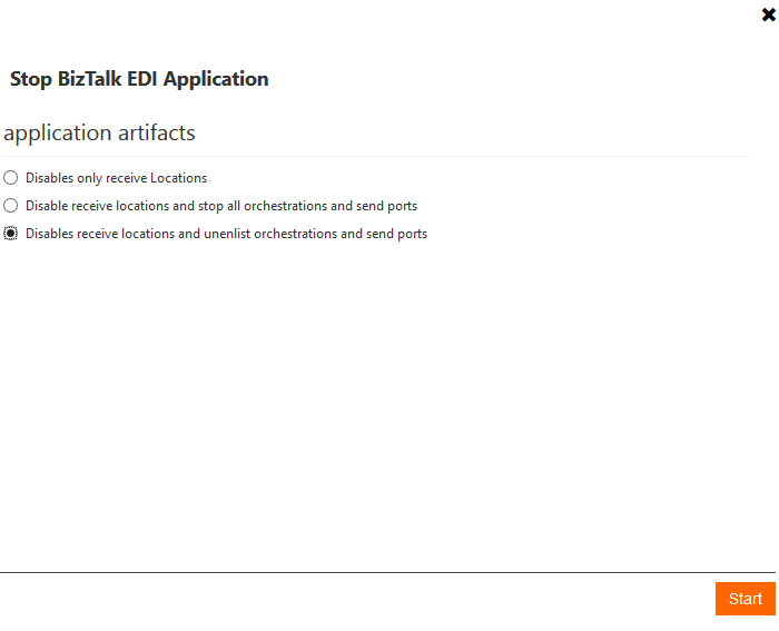 stop biztalk edi application artifacts