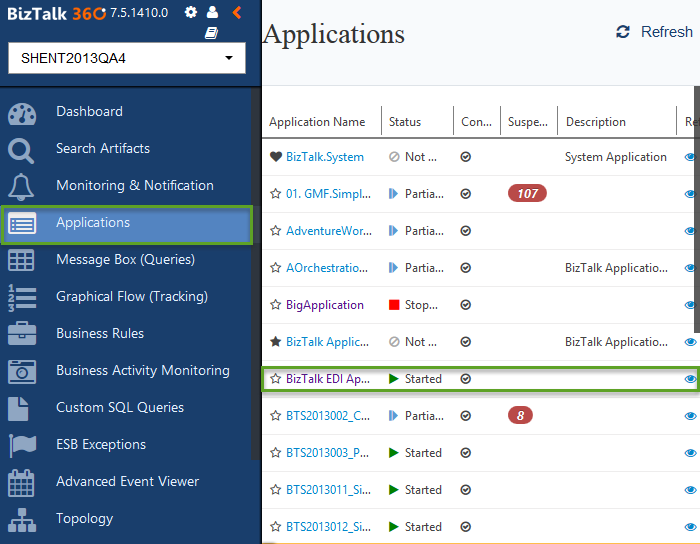 biztalk360 applications status monitoring