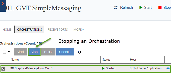 stopping an orchestration in biztalk360