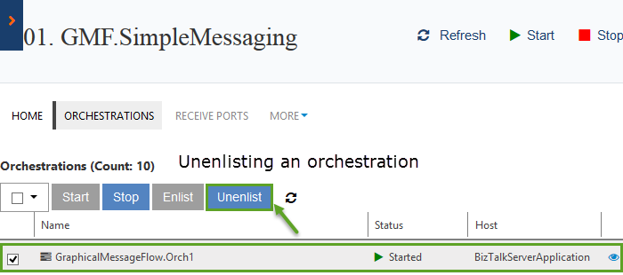 unenlisting an orchestration in biztalk360