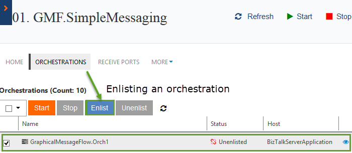 enlisting an orchestration in biztalk360