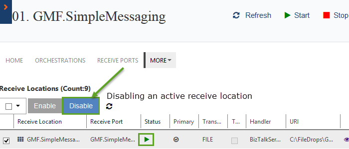 disabling receive location of a biztalk artifact