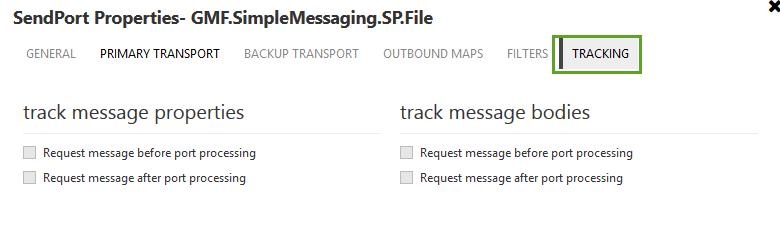 send port track message properties
