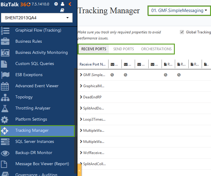 tracking manager home in biztalk360