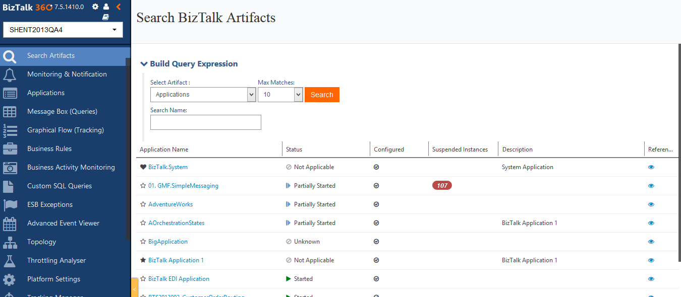 search artifacts in biztalk environment