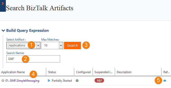 build query expression for search biztalk artifacts