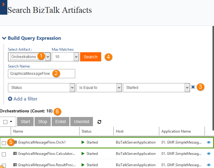 orchestrations count in search biztalk artifacts