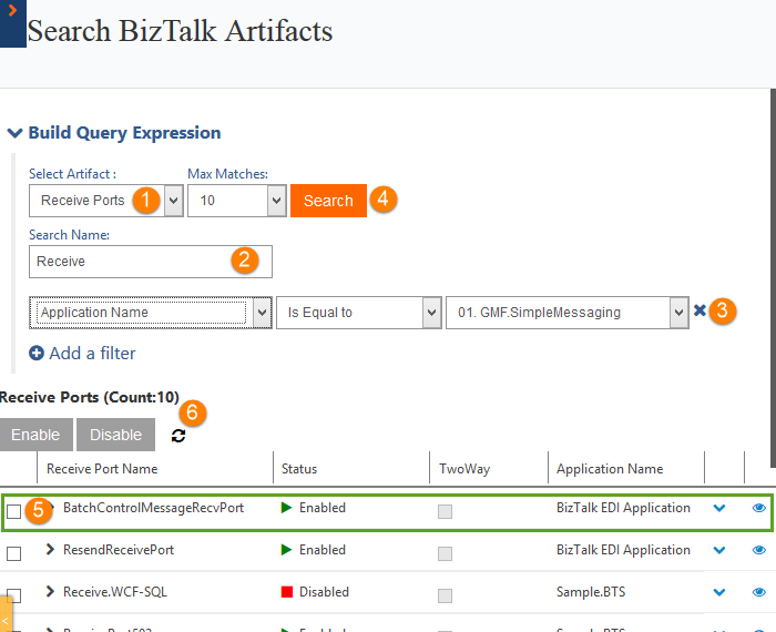 receive ports count in search biztalk artifacts