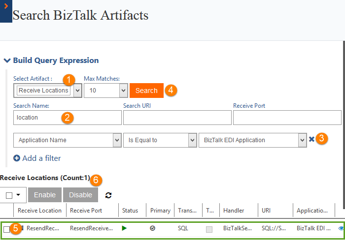 search biztalk artifacts receive locations count
