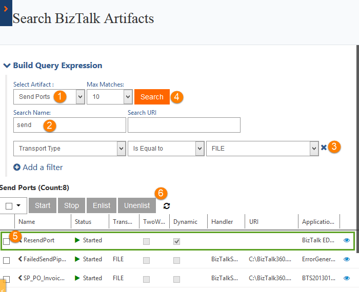 send ports count for search artifacts in biztalk360