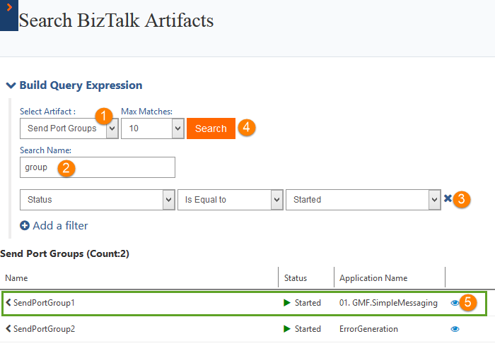 searching send port groups in biztalk360