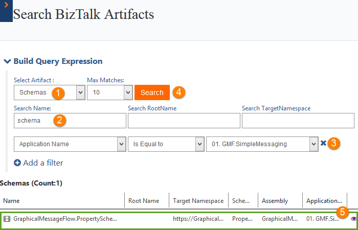 schemas count for search artifacts in biztalk360