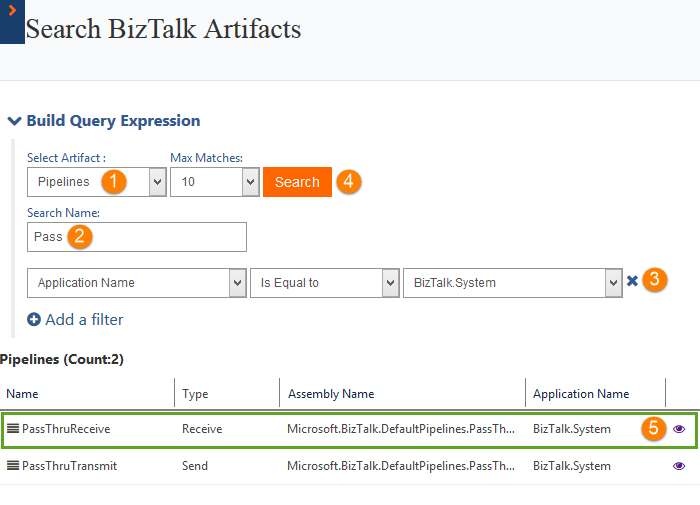searching pipelines in biztalk360