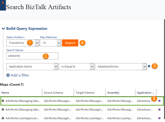 searching transforms maps count in biztalk360