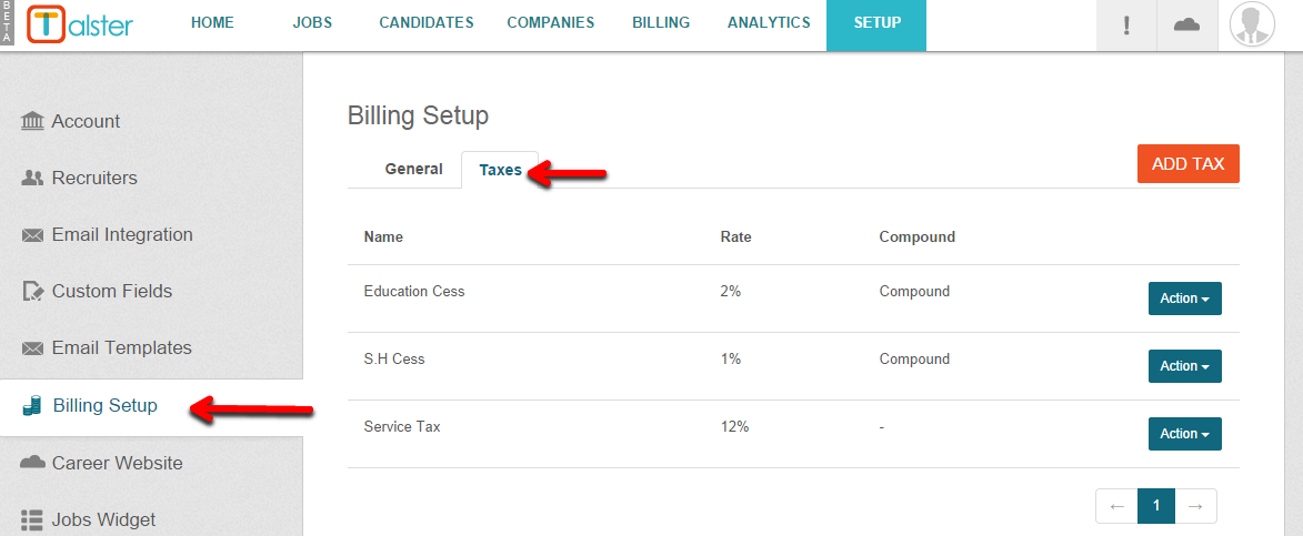 managing taxes talster support desk