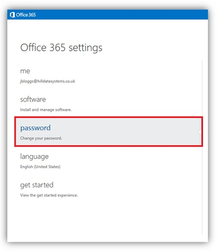 how to change office365 myapp password for user