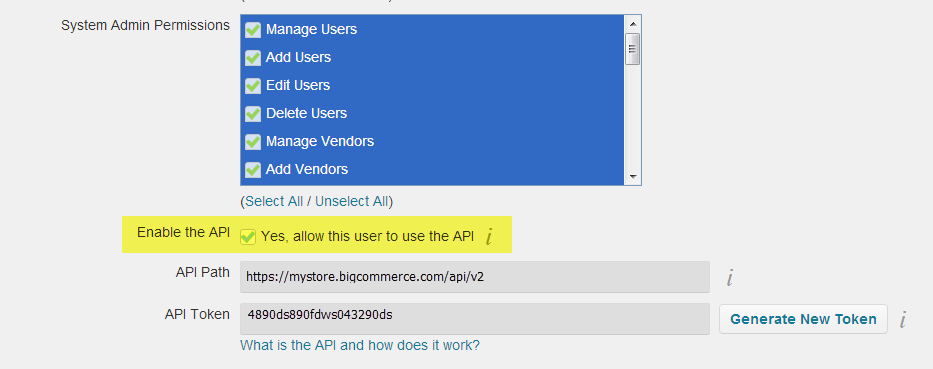 Locating your Big merce API Path API Username and API
