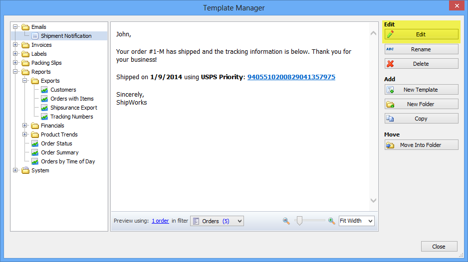 in this example we will be modifying the shipment notification email template by default this is the template that is used to send out tracking