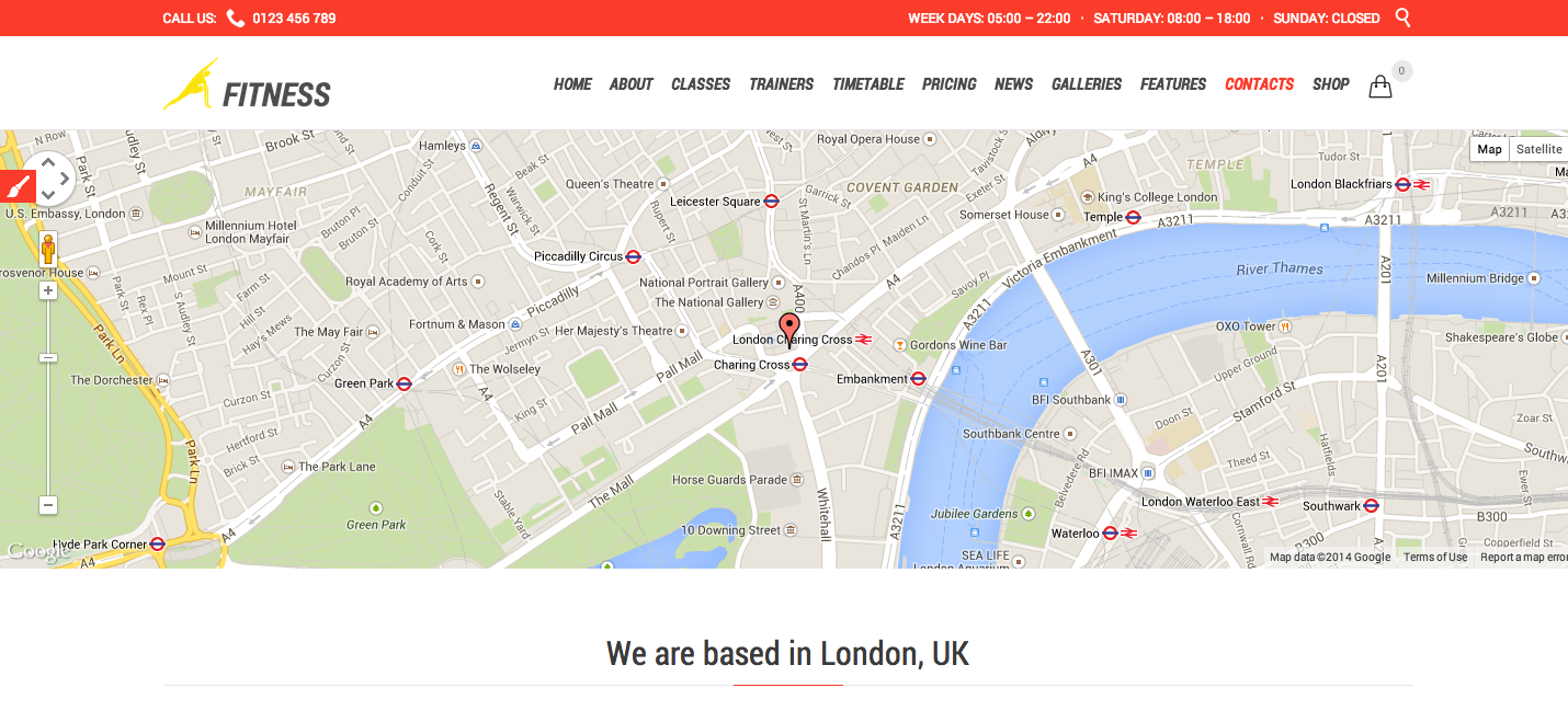 How to change the Google map in the Contact Us page Fitness Sport