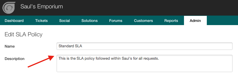 Understanding SLA Policies - Name and Description