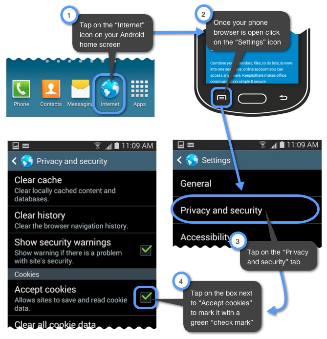 how do i enable cookies on my mobile browser keep support support portal