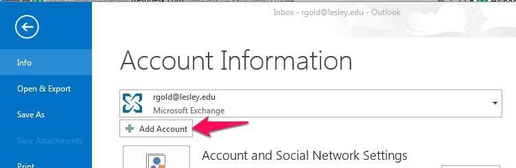 how to add your lesley email in the outlook application on