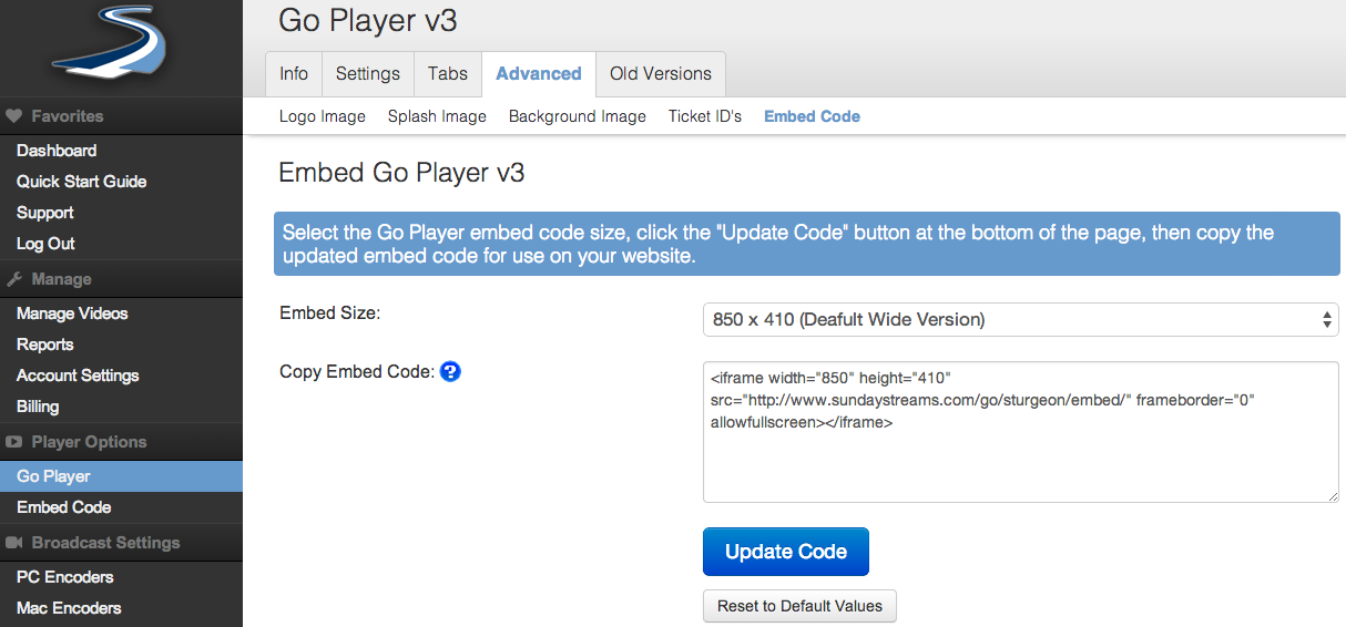 Go Player Embed Code