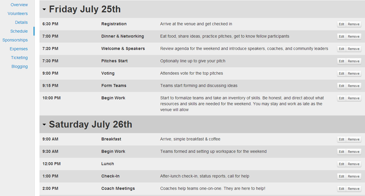 edit existing schedule