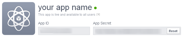 Facebook API Key and App Secrets