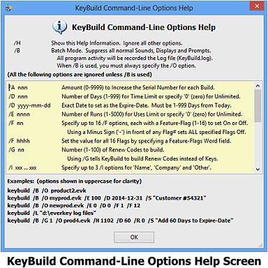 KeyBuild Cmd-Line Help Screen