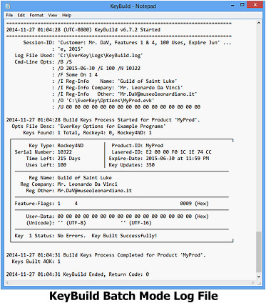 KeyBuild Batch Mode Log File