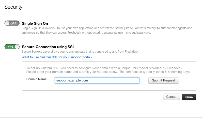 Configuring a custom SSL certificate for your support portal : Freshdesk