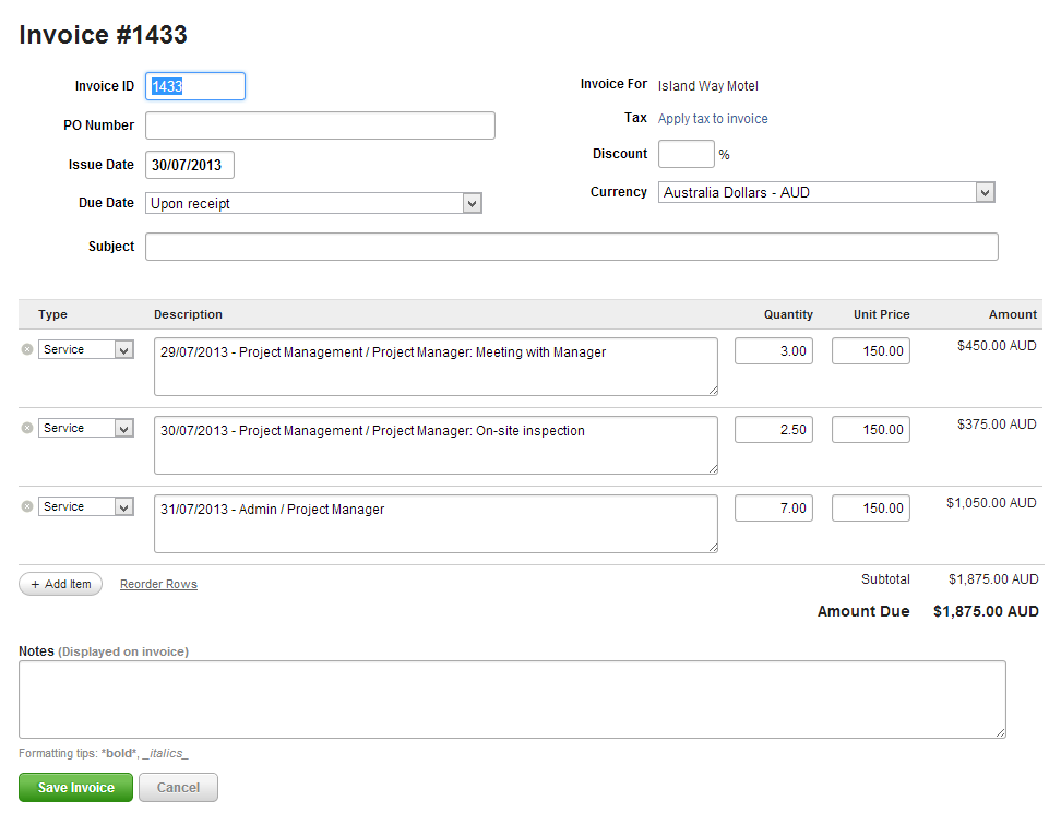 Creating Invoices in Harvest for a successful export to MYOB ...