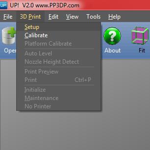3D Print Setup Menu